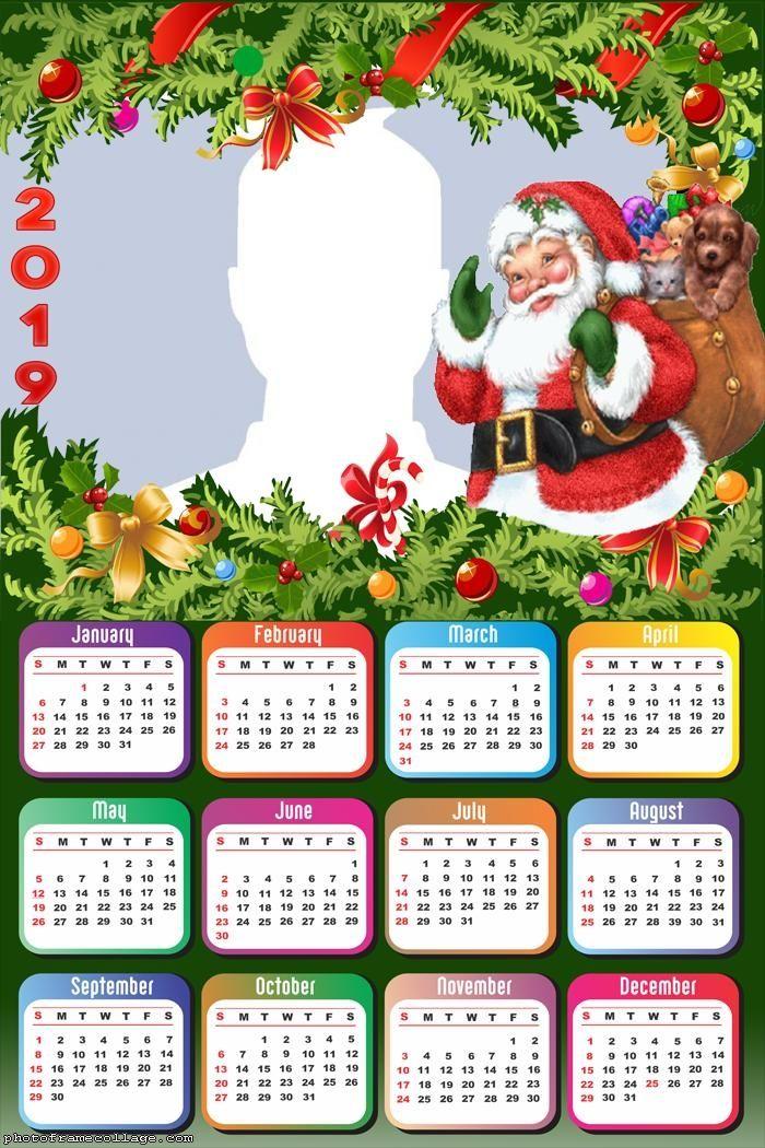 Happy Santa Claus Calendar 2019 Frame Photo Montage Free