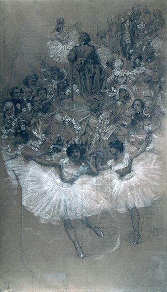 Bailarinas e Beethoven – Cartão para confecção do pano de boca do Theatro Municipal-RJ, 1906 - Eliseo d'Angelo Visconti (Eliseu Visconti)