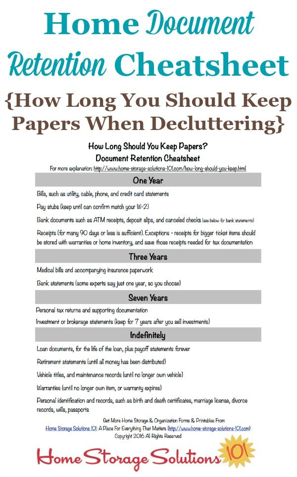 How Long Should You Keep Papers Home Document Retention Schedule