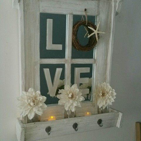 Wall Decor Boxes Rustic Mirrored Window Pane With Flower Box Wall Decorbeachy