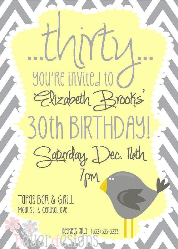 Check Out This Girls Work Very Cute Stuff Not Expensive Custom 30th Birthday Invitation Gray Yellow By BeyerDesigns 1200