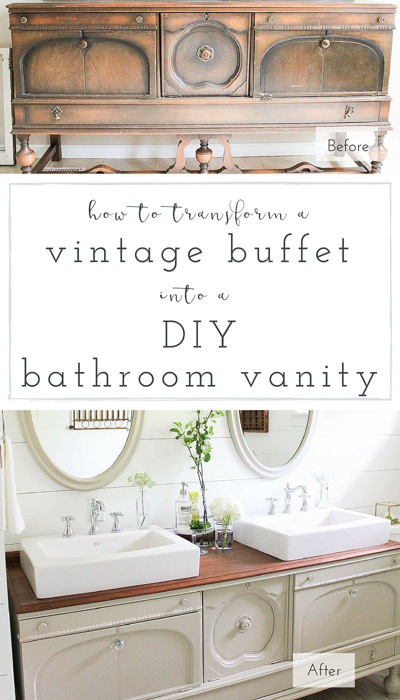 How To Transform A Vintage Buffet Into A Diy Bathroom Vanity Making It In The Mountains Diy Bathroom Vanity Diy Bathroom Vintage China Cabinets