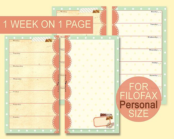 Week planner on 1 page printable for FIlofax personal size