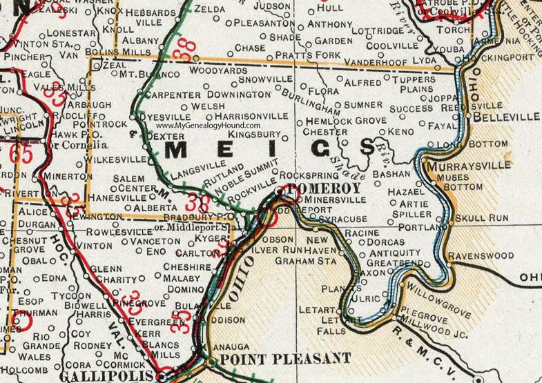 Meigs County Ohio 1901 Map Pomeroy Racine Middleport Syracuse