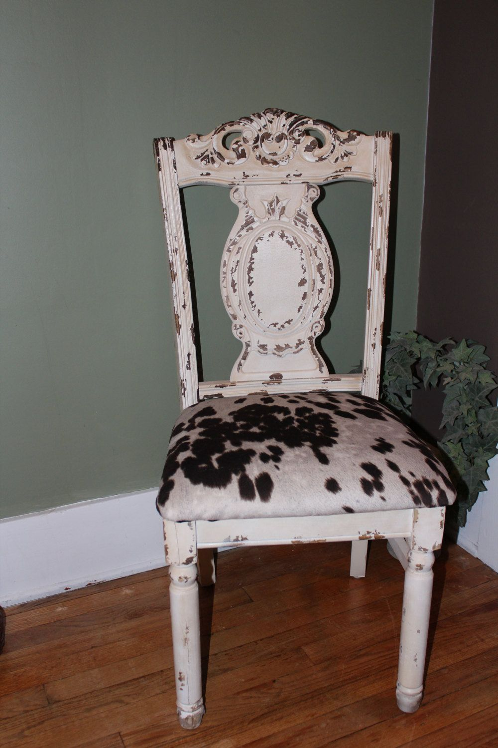 Cowhide chair by semleatherbags on etsy upcycled dining