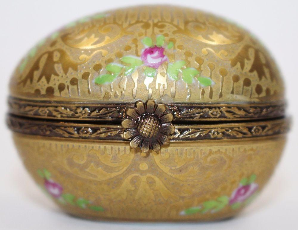 Limoges France Peint Main 24K GOLDEN EGG Signed Vintage Rare Trinket Box #Limoges