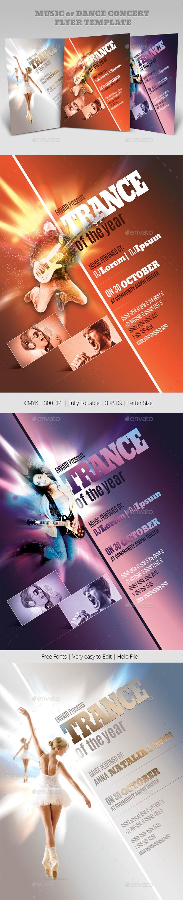 Music Or Dance Concert Flyer Templates  Concert Flyer Flyer