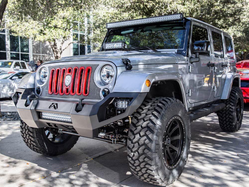 Sema 2015 Jeep Jk Fabfour Bumper Strut Grille Skyjacker Lift Kit Sema 2015 Jeep Jk 2015 Jeep