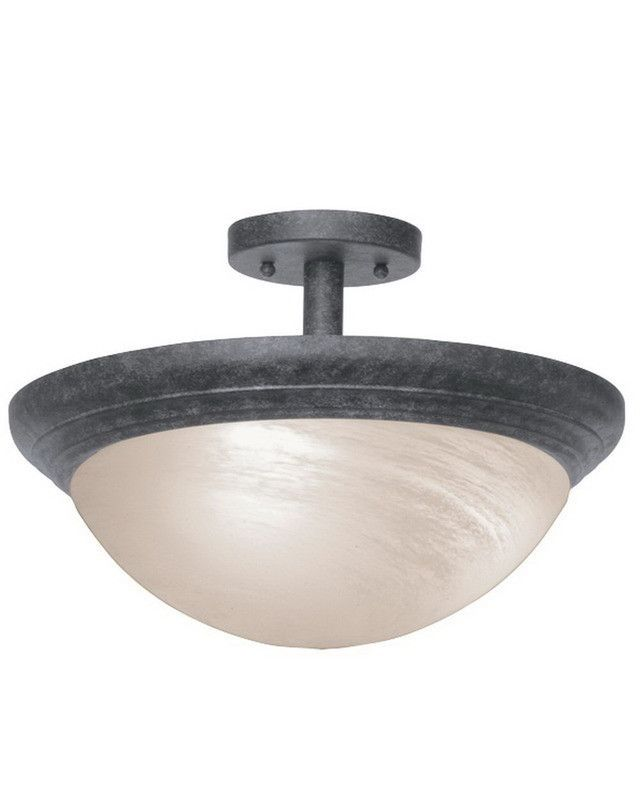 Kalco lighting 1704 cl one light semi flush ceiling mount in charcoal finish