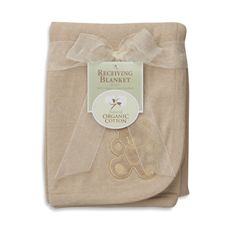 Natural Organic Cotton Receiving Blanket With Bear Embroidery, 100% Organic Cotton