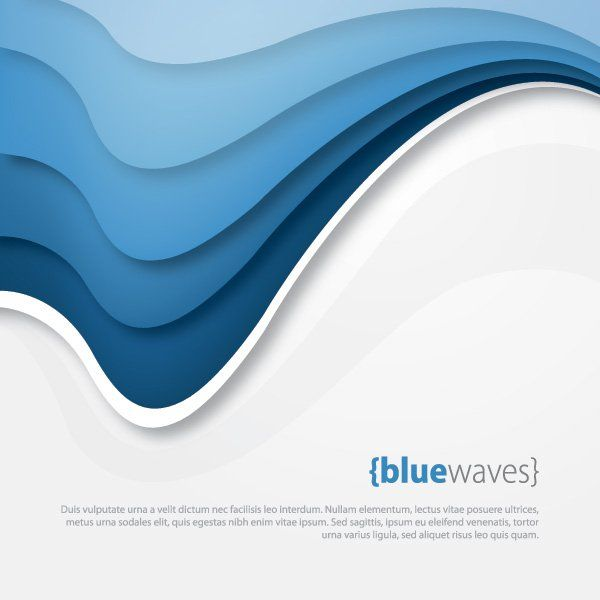 Colour Line Art Design : Blue waves vector graphic — template abstract