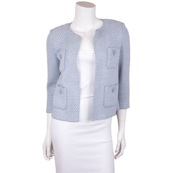 8ec0e48306bc Pre-owned St. John Knit Blue Blazer ( 165) ❤ liked on Polyvore featuring  outerwear