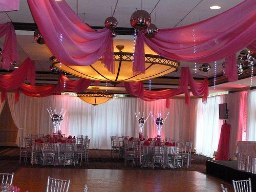 Beautiful Sheer Pink Fabric Ceiling