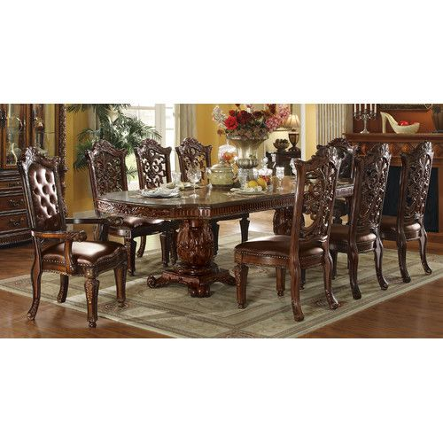 Vendome Floral Carved Dining Table Dining Table Pedestal Dining Table Upholstered Dining Chairs