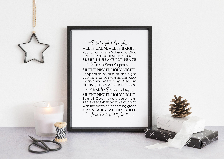 Silent Night Holy Night Lyrics, Christmas Printable, Christmas Music Gift, Christmas Typography ...
