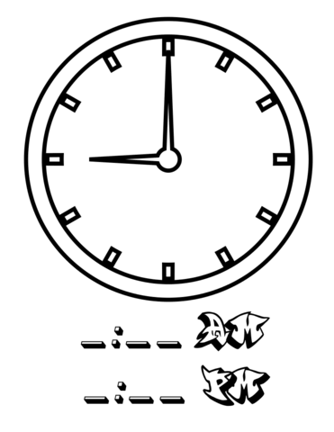 Nine Hours coloring page from Telling Time worksheets category ...