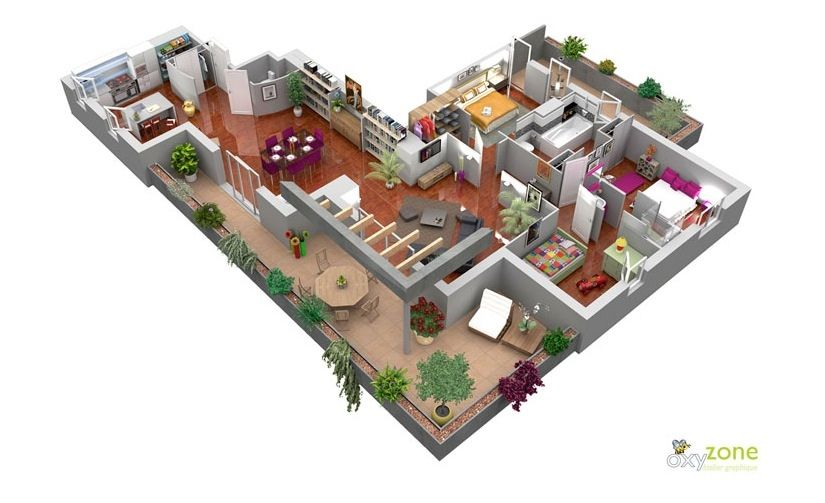 50 Three 3 Bedroom Apartment House Plans Architecture Design Bedroom Floor Plans Studio Apartment Floor Plans Floor Plan Design