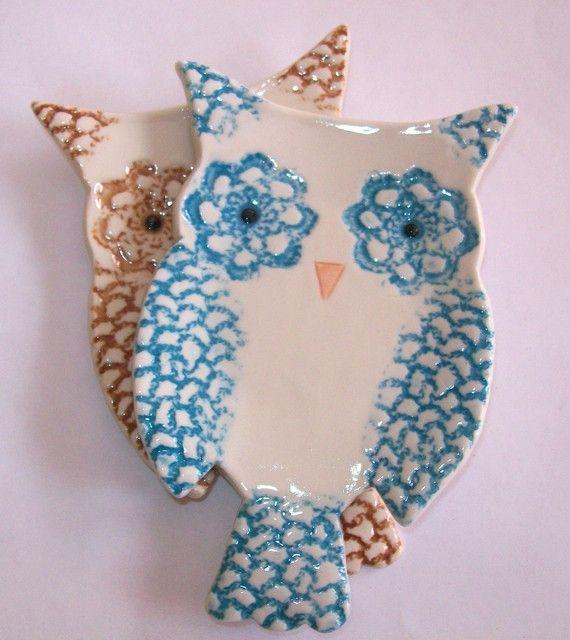ceramic owl tea bag holders set of 2 by personalizedceramics