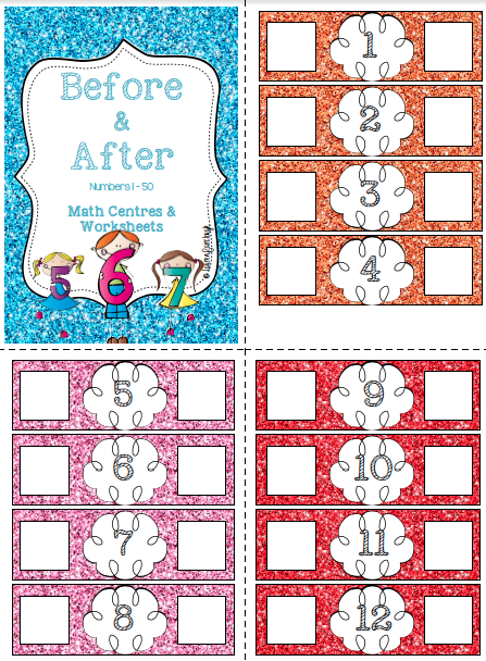 Before and After Numbers 1 - 50. Math center and Interactive worksheets!