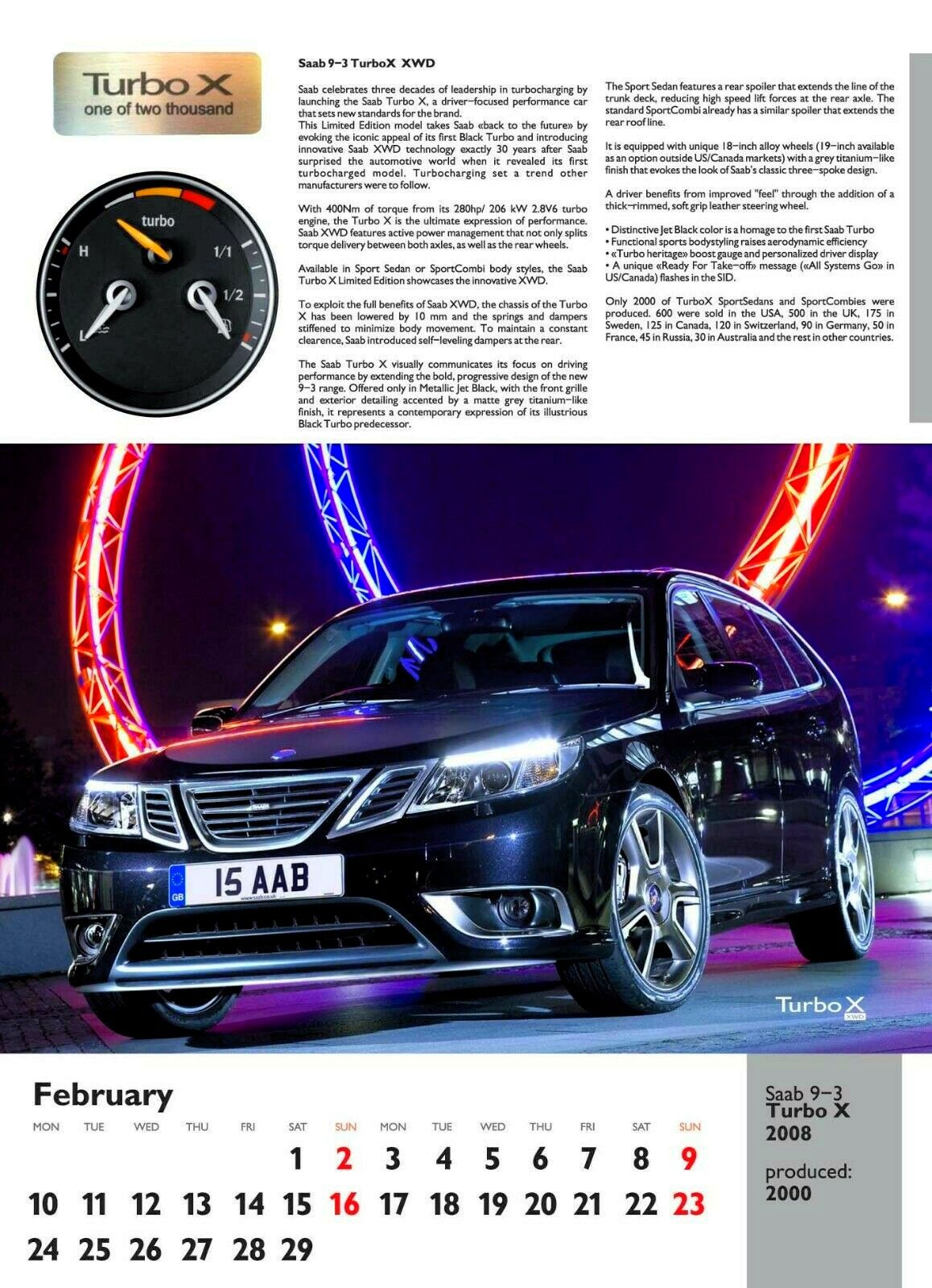 SAAB Special Editions Calendar 2020, SAAB 93 Turbo X