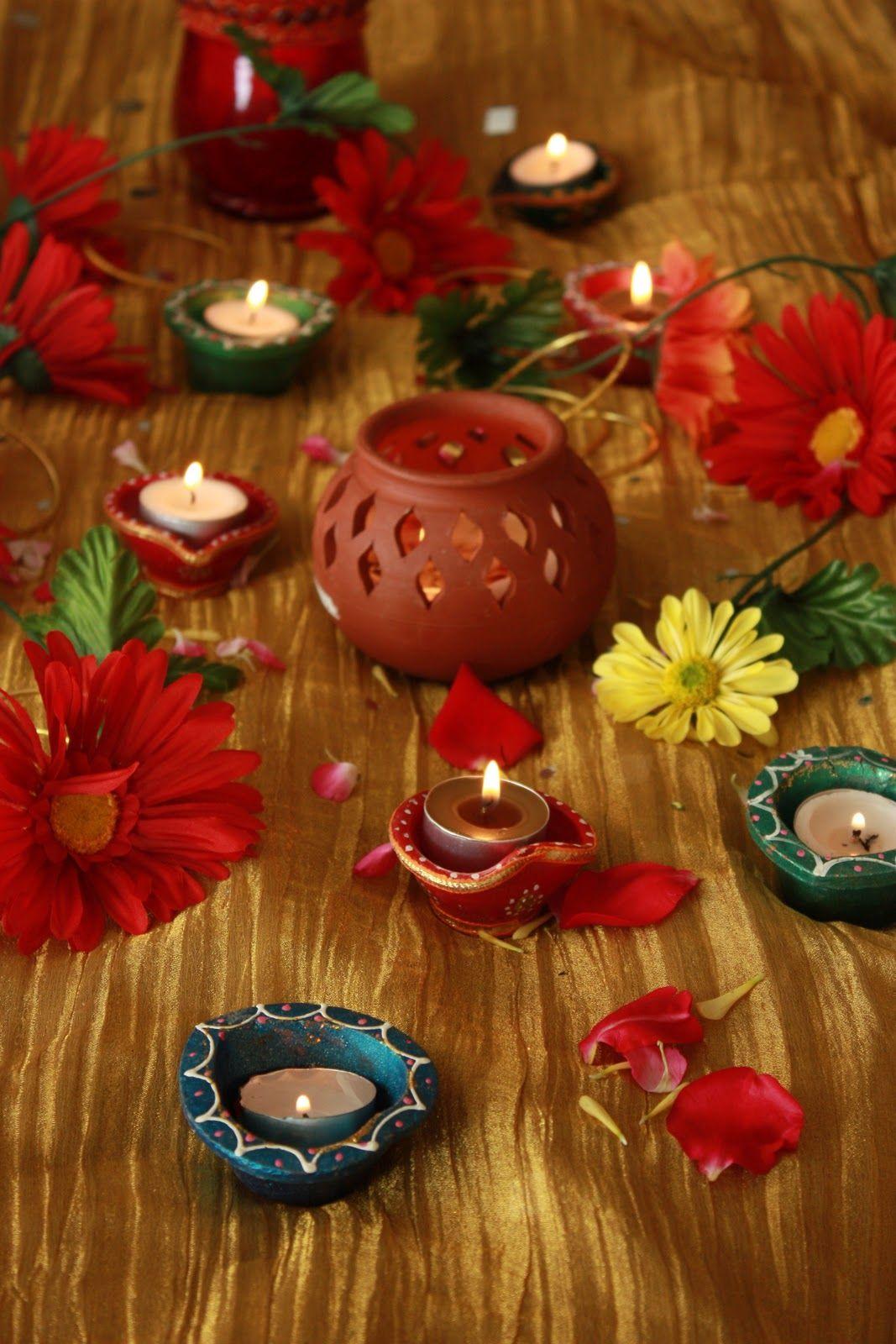 diwali diyas with flowers diwali decorations pinterest