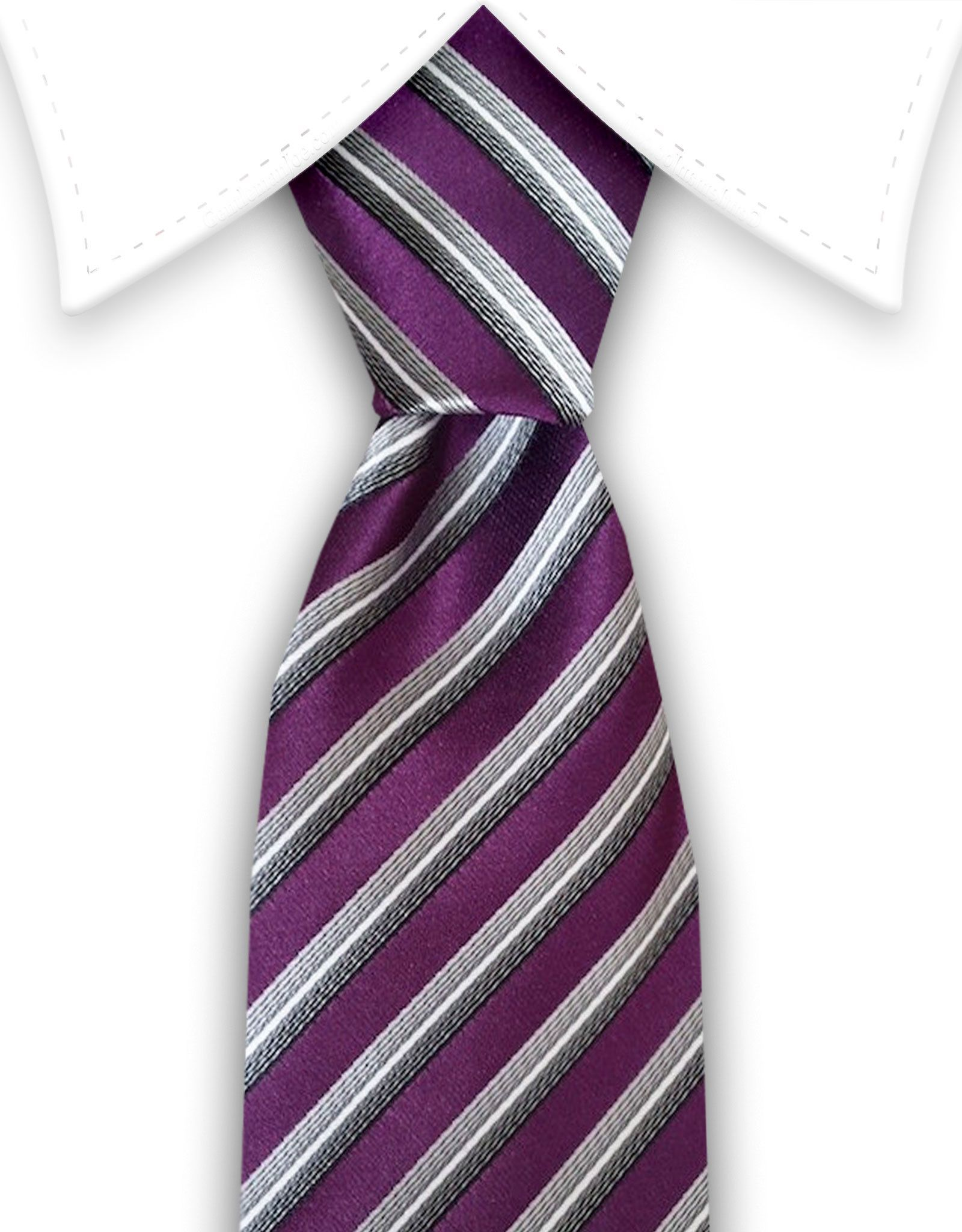 Purple & Silver Striped Tie   Weddings and Products