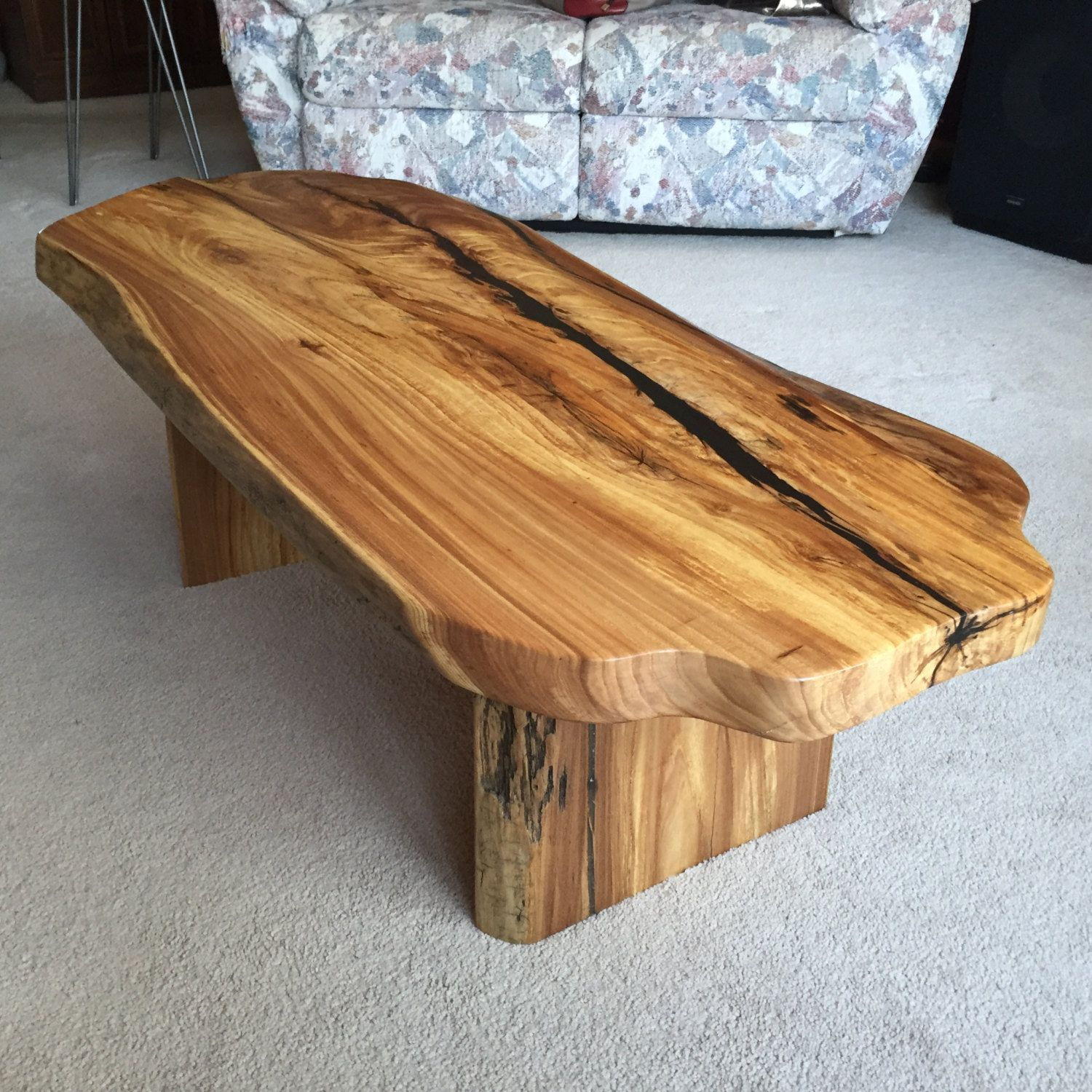 Vintage Industrial Live Edge Walnut Slab Coffee Table: Unique Live Edge Coffee Table With Live Edge Wood Slab