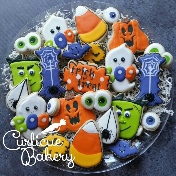 cute not scary halloween assorted decorated sugar cookies