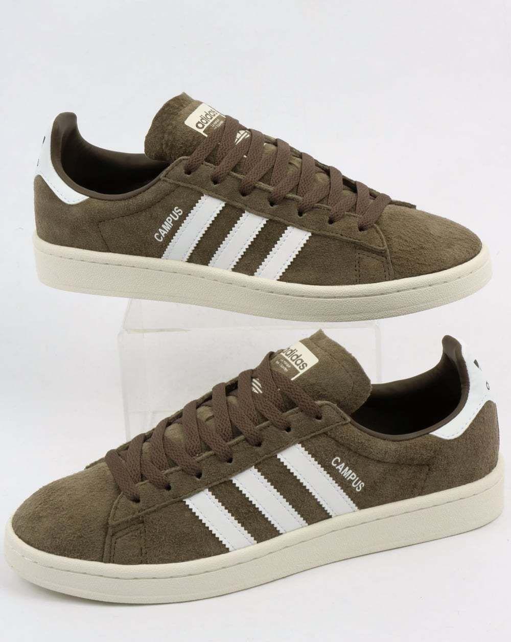 959779de1d1 adidas Campus Trainers in Khaki Green   White suede retro vintage ...