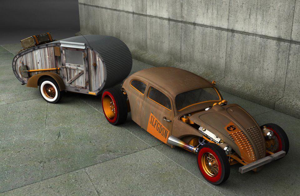 VW Bug Rat with Teardrop Rat Trailer