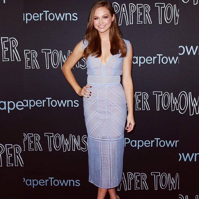 The gorgeous Ksenija Lukich at the Paper Towns Premier last night wearing Rachel Gilbert Daysi Maxi in Chalk Blue In store and online now: http://www.rachelgilbert.com/shop/productdetails.aspx?id=10996&cid=3537