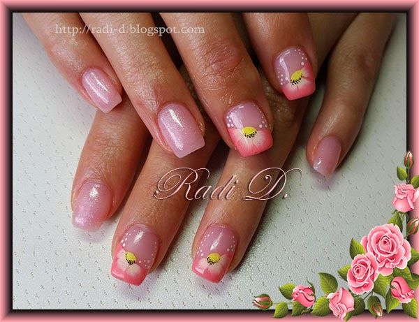 Its All About Nails Peach Flowers Nailart One Stroke Technique