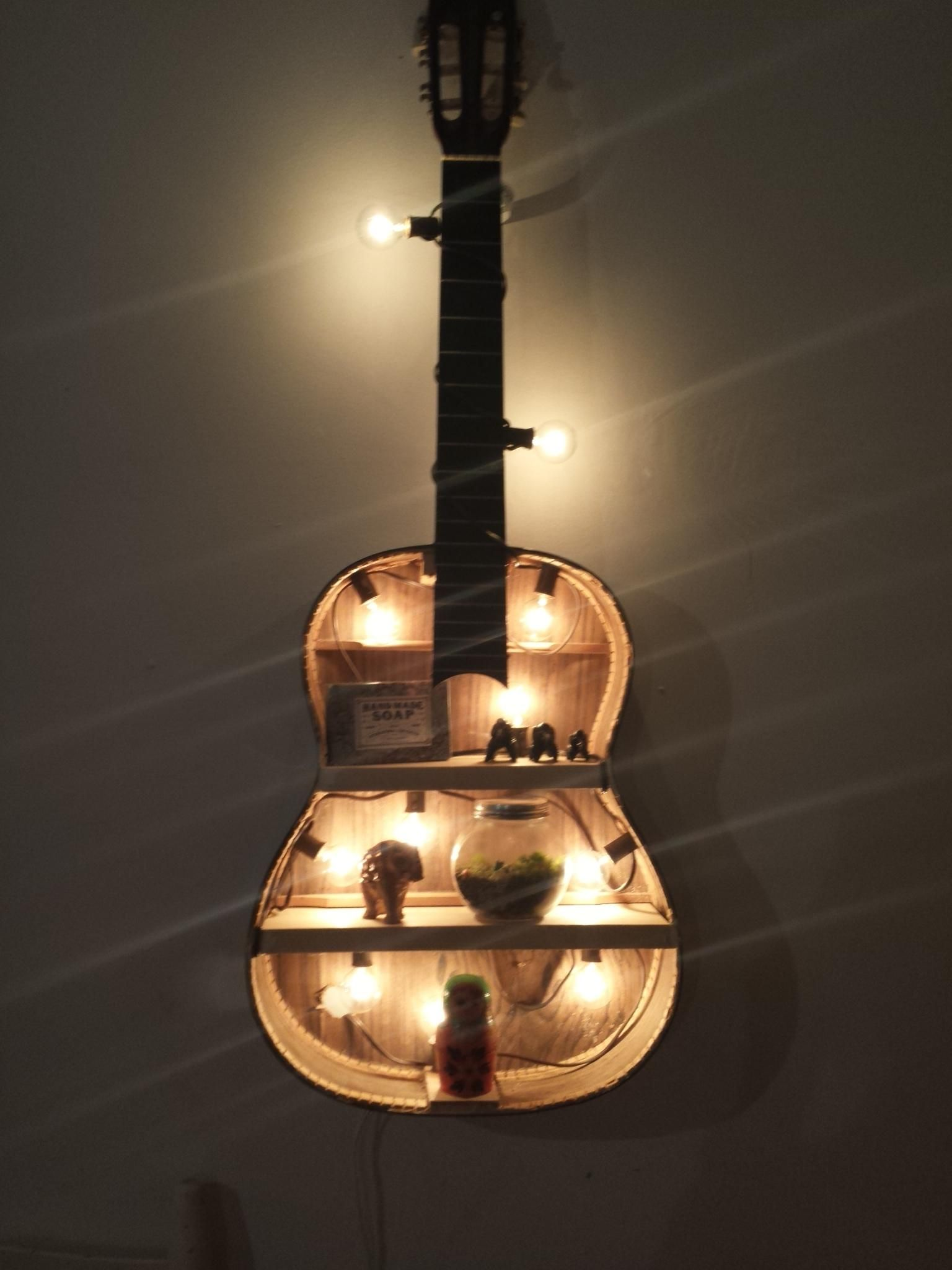 magnificent repurposed guitar ideas for the ideal home decoration diy challenge in 2019. Black Bedroom Furniture Sets. Home Design Ideas