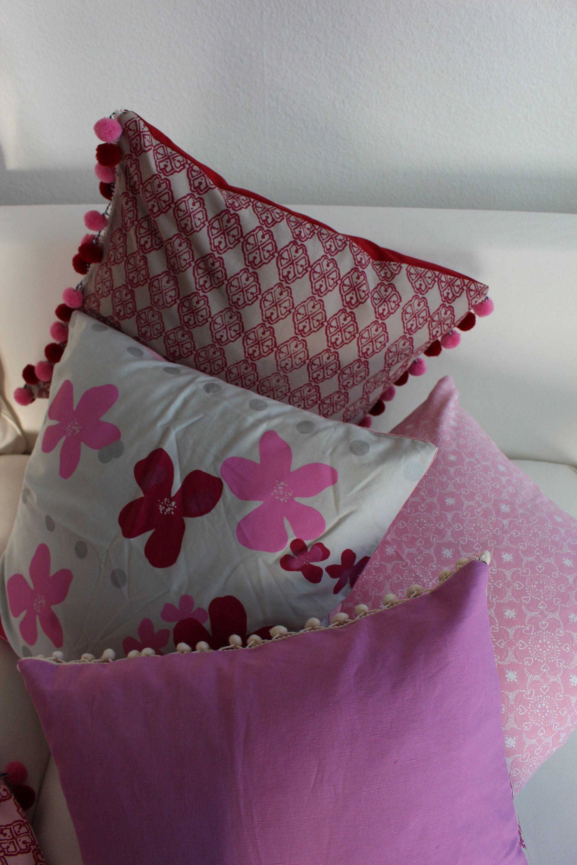 Kissen Set 4er Rot Rosa Pink Zierkissen 50x50 Kissenhullen