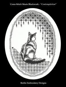 Cross-Stitch meets Blackwork Cat - Contemplation by Tanja Berlin. Pattern and Kit available from: www.berlinembroidery.com