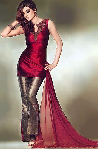 Red Silk Trouser Suit Pakistani Designer Dresses A