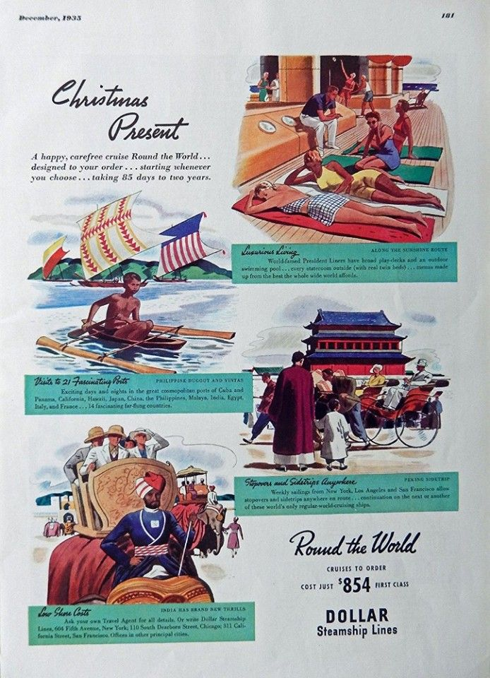 Christmas Present  Print Ad  Full Page Color Illustration  round the world  original 1935