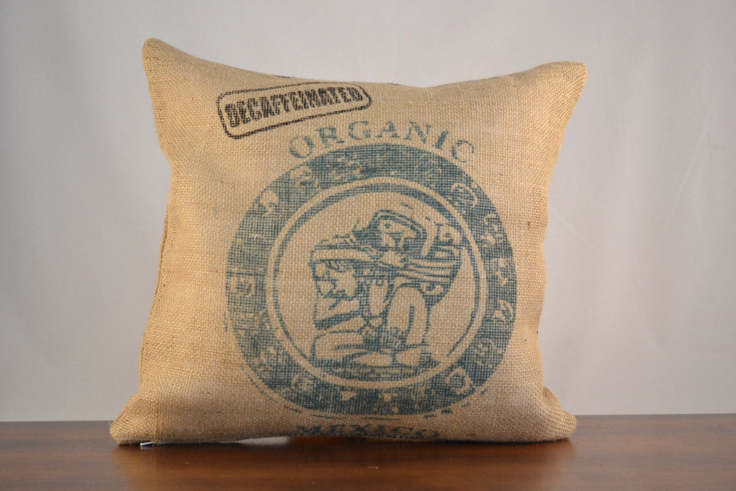 New to oldlakegeorge on etsy burlap pillow mexico graphic for Decorative burlap bags
