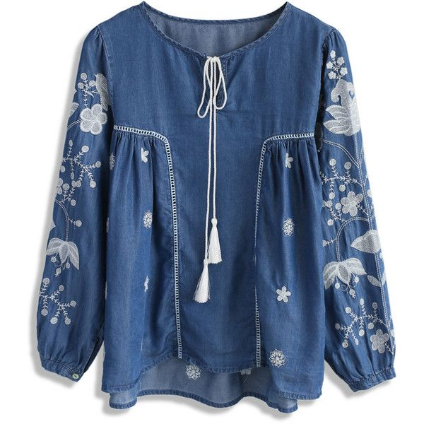 Chicwish Bloom on Chambray Embroidered Dolly Top ($42) ❤ liked on Polyvore featuring tops, blue, blue floral top, chambray top, floral tops, blue top and flower print tops