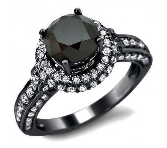 2 92ct Black Round Diamond Engagement Ring 14k Black Gold Black Diamond Ring Black Diamond Ring Engagement Black Gold Jewelry