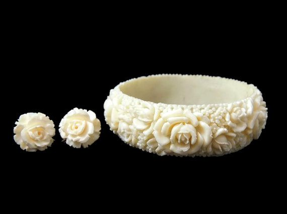 Cabbage Rose Carved Celluloid Bangle Bracelet Earrings 12k Gold Filled