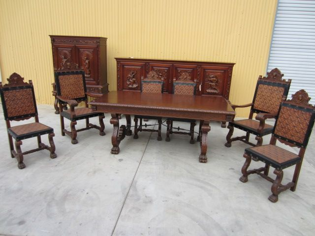 Spanish Antique Dining Set Table Sideboard Server / Bar Dining Chairs