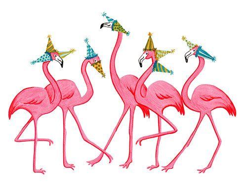 Flamingo party. Parade greeting card s