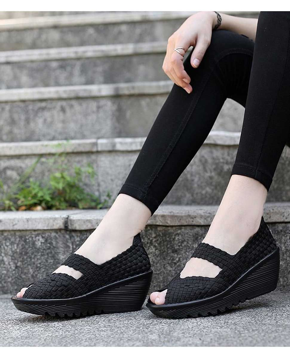 39d091f3873 Women s  black slip on  wedge shoe sandals weave check design