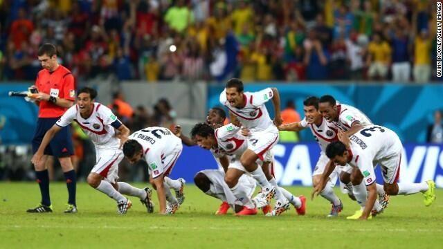 Costa Rica vs Greece, penalties, Costa Rica quarter-finals celebration, Congrats, WorldCup Brazil 2014