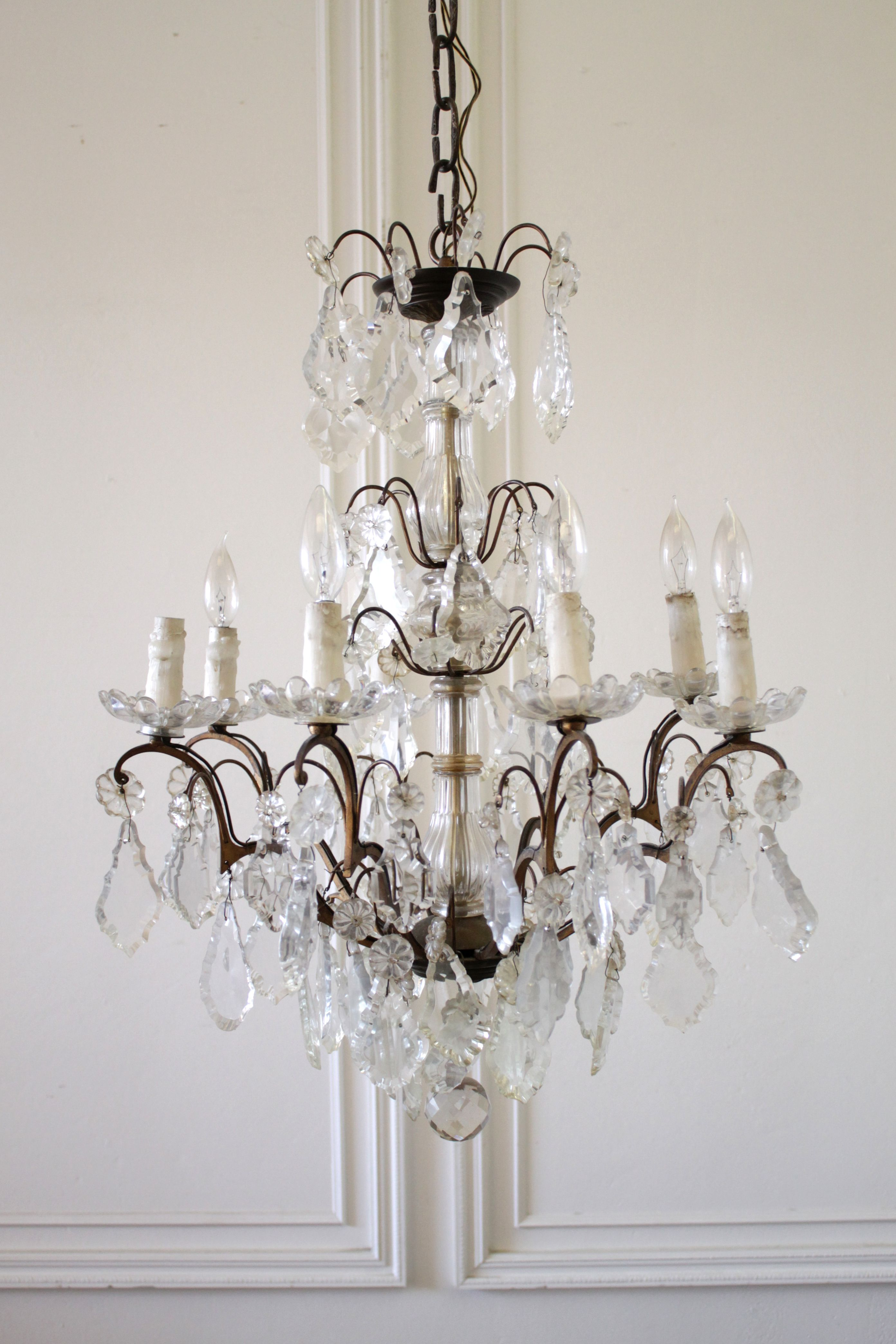 20th Century Antique Brass And Crystal Chandelier 2 390 Crystal Chandelier Chandelier Candle Cover