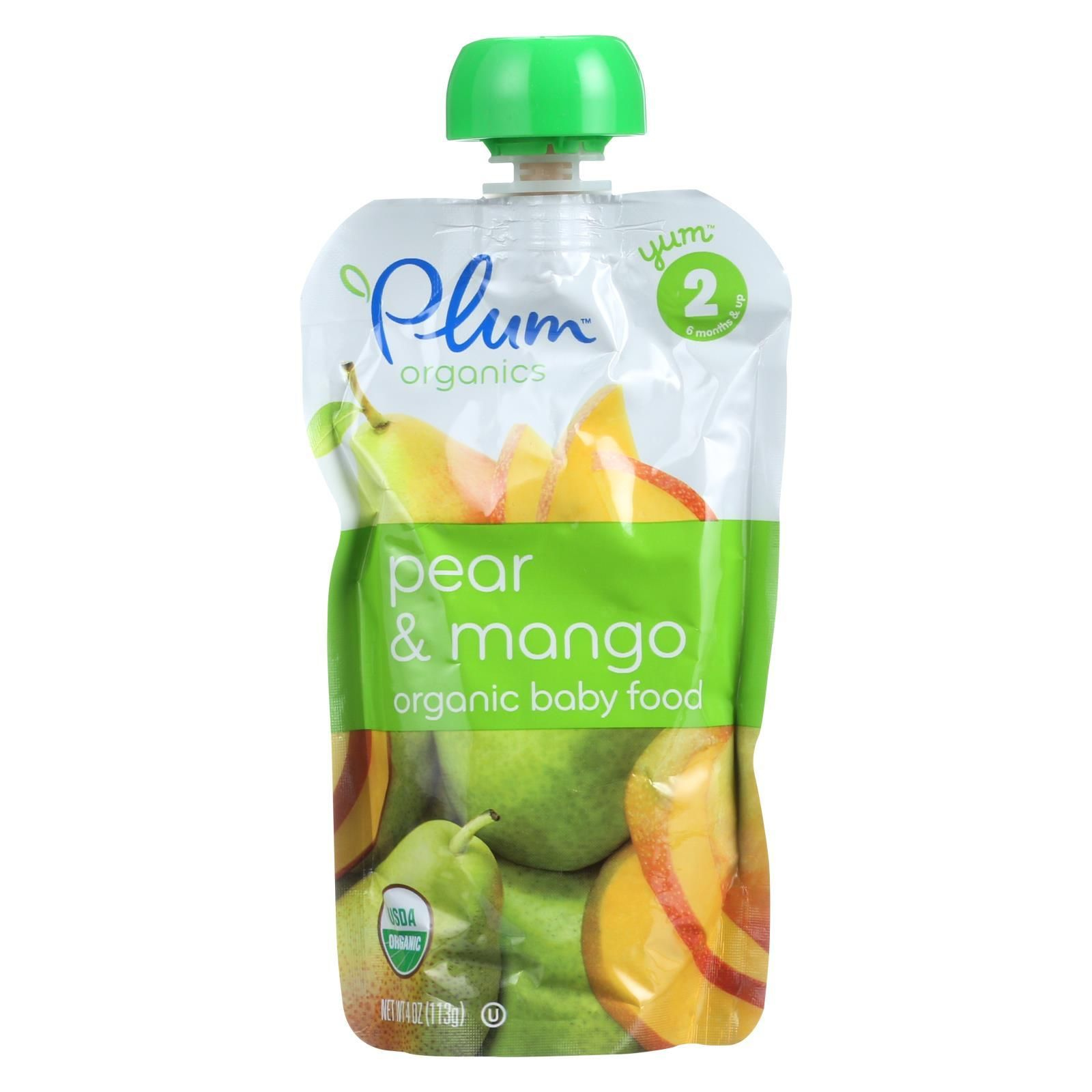 Plum organics baby food organic pear and mango stage