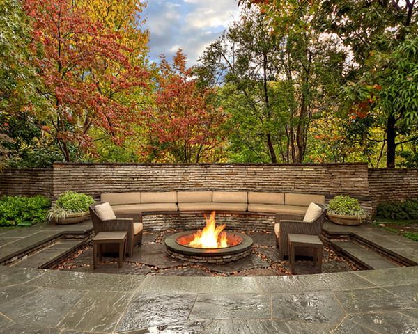 Nice Sunken Patio With Fire Pits Ideas   Patio Design Ideas   6162