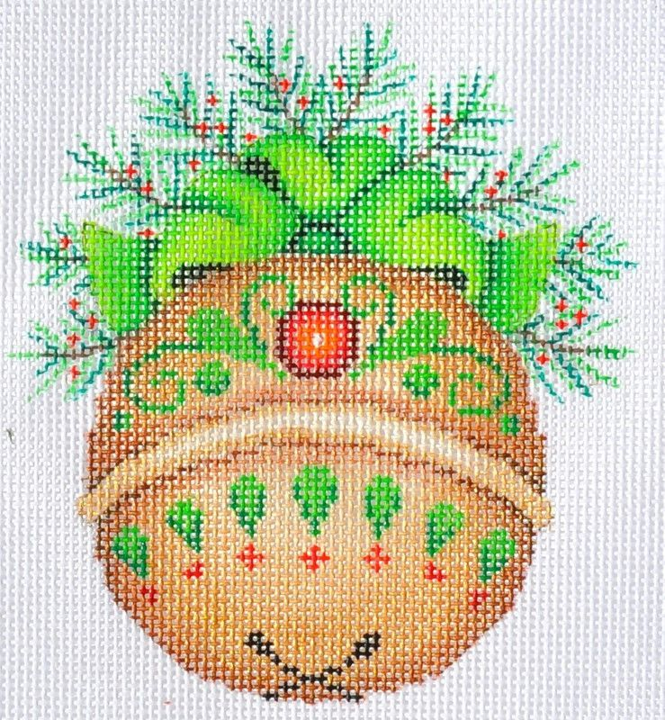 Gold Bell- Green Holly- Red Jewel Needlepoint, Needlepoint kits