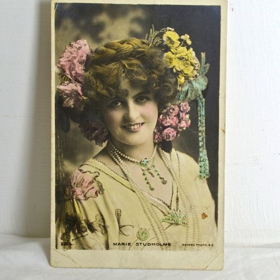 Vintage Postcard of Theatre Actress Marie by FeltersCottage